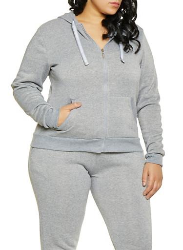 Plus Size Zip Front Sweatshirt,HEATHER,large
