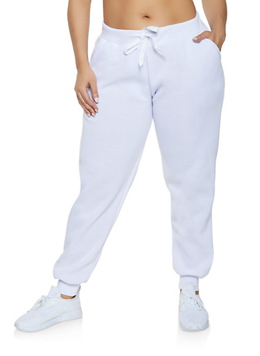 Plus Size Solid Sweatpants,WHITE,large