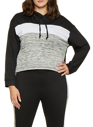 Plus Size Color Block Hooded Sweatshirt,BLACK,large
