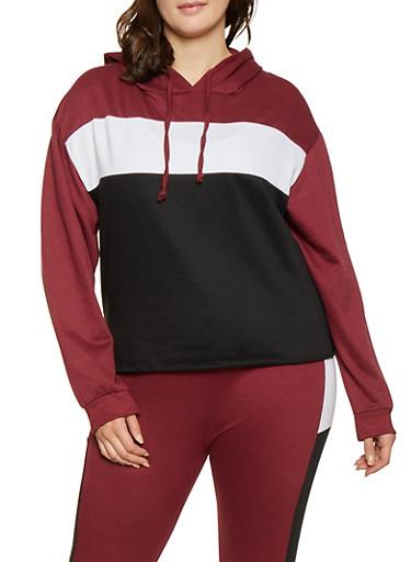 Plus Size Color Block Hooded Sweatshirt,WINE,large