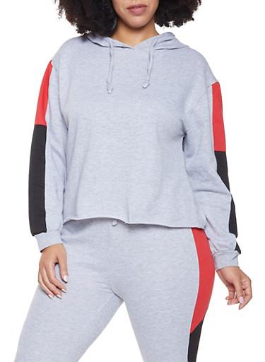 Plus Size Color Block Hooded Sweatshirt,HEATHER,large