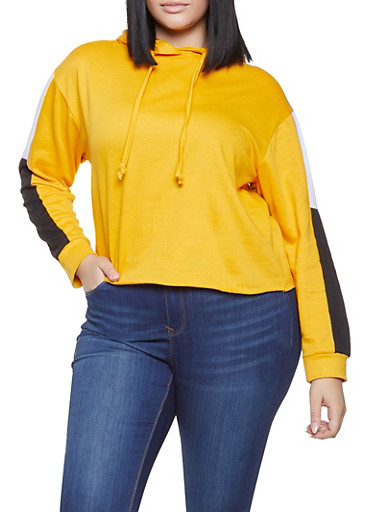 Plus Size Color Block Hooded Sweatshirt,MUSTARD,large