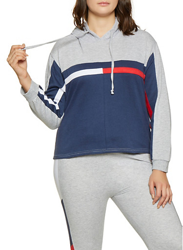 Plus Size Color Block Hooded Sweatshirt,NAVY,large