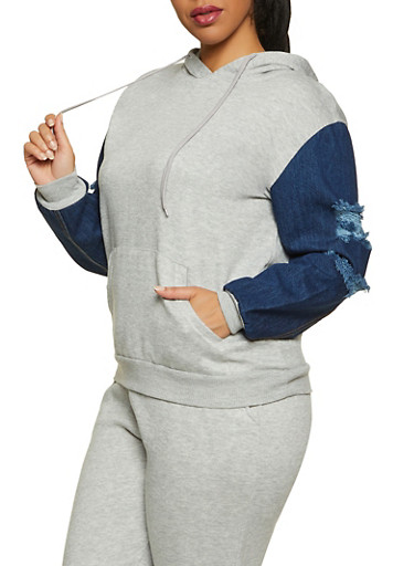 Plus Size Denim Sleeve Sweatshirt,HEATHER,large