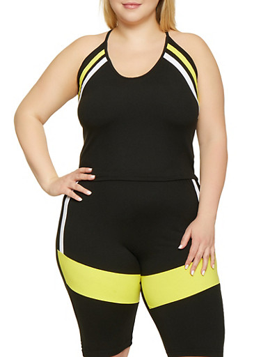 Plus Size Varsity Stripe Racerback Cami,BLACK,large