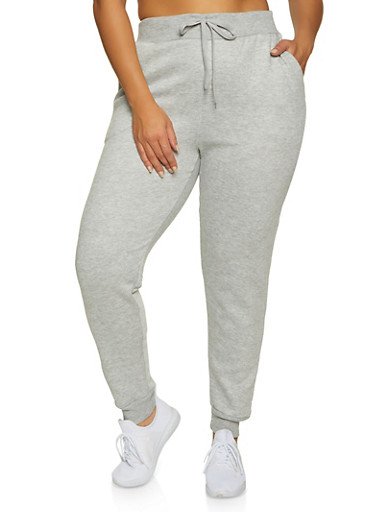 Plus Size Solid Joggers | 1927063402396,HEATHER,large