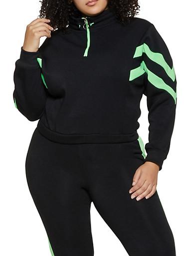 Plus Size Half Zip Sweatshirt,BLACK,large