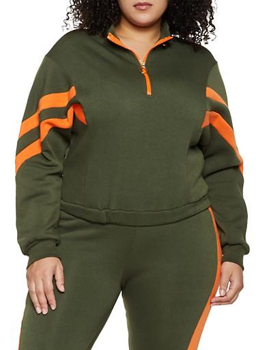 Plus Size Half Zip Sweatshirt,OLIVE,large