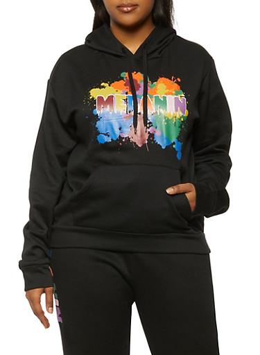 Plus Size Melanin Graphic Sweatshirt,BLACK,large