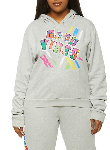Plus Size Good Vibes Hooded Sweatshirt,HEATHER,large