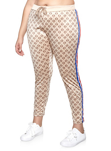 Plus Size Side Stripe Love Graphic Track Pants,TAN,large