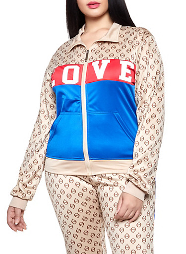 Plus Size Love Graphic Color Block Track Jacket,TAN,large