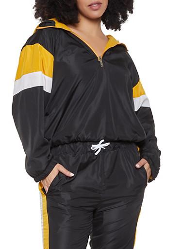 Plus Size Half Zip Windbreaker Jacket,BLACK,large