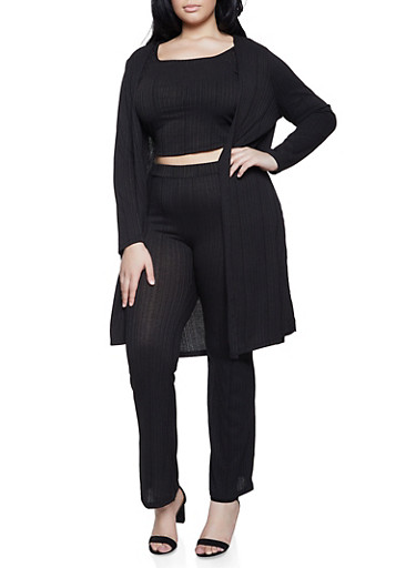 Plus Size Rib Knit Duster with Crop Top and Palazzo Pants,BLACK,large