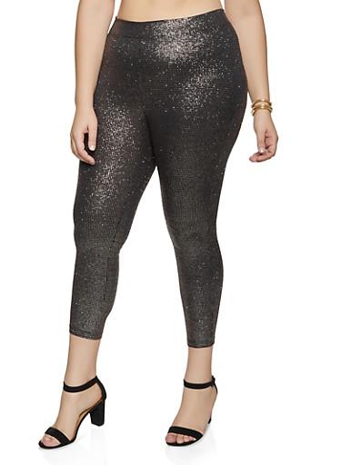 Plus Size Glitter Leggings,GOLD,large