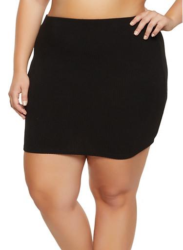 Plus Size Ribbed Mini Skirt