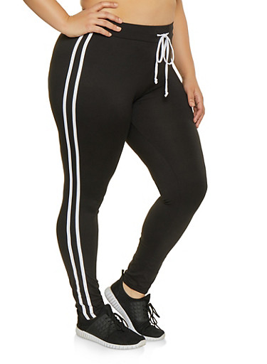 Plus Size Varsity Stripe Leggings,BLACK/WHITE,large