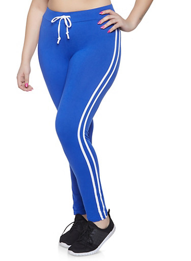 Plus Size Varsity Stripe Leggings | 1927072290013,RYL BLUE,large