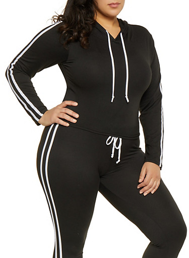 Plus Size Varsity Stripe Hooded Top,BLACK/WHITE,large