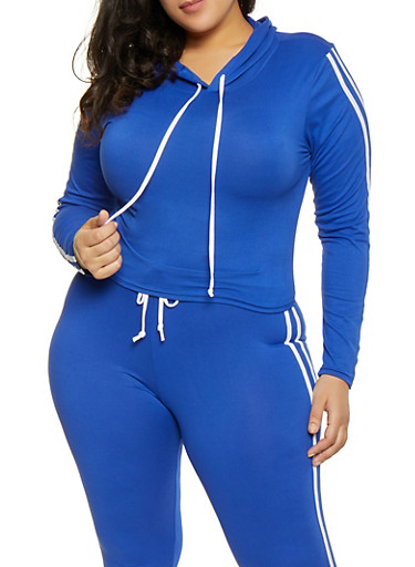 Plus Size Varsity Stripe Hooded Top,RYL BLUE,large