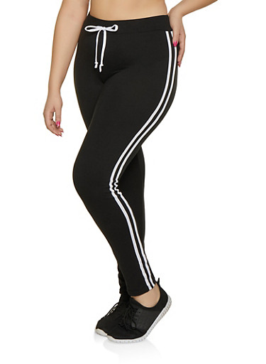 Plus Size Varsity Stripe Leggings,BLACK,large