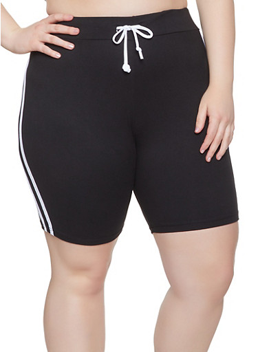 Plus Size Varsity Stripe Bike Shorts,BLACK/WHITE,large