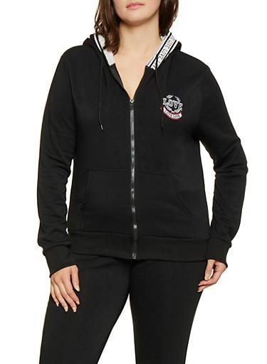 Plus Size Love Embroidered Sweatshirt,BLACK,large