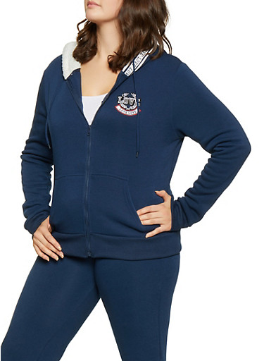 Plus Size Love Embroidered Sweatshirt,NAVY,large