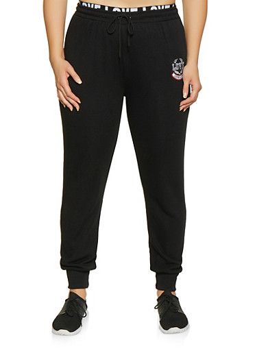 Plus Size Love Embroidered Joggers,BLACK,large