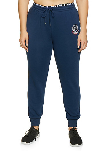 Plus Size Love Embroidered Joggers,NAVY,large