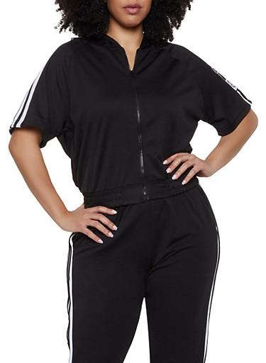 Plus Size Love Varsity Stripe Track Jacket,BLACK,large