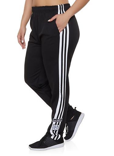 Plus Size Love Varsity Stripe Track Pants,BLACK,large