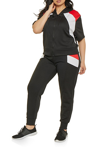 Plus Size Color Block Sweatshirt | 1927072290289,BLACK,large