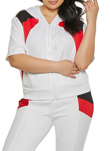 Plus Size Color Block Sweatshirt | 1927072290289,WHITE,large