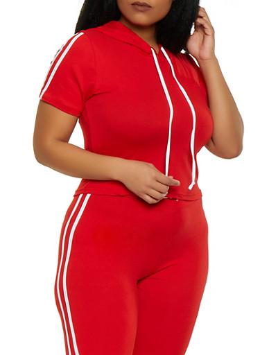 Plus Size Hooded Varsity Stripe Tee,RED,large