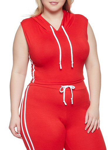Plus Size Sleeveless Hooded Top,RED,large