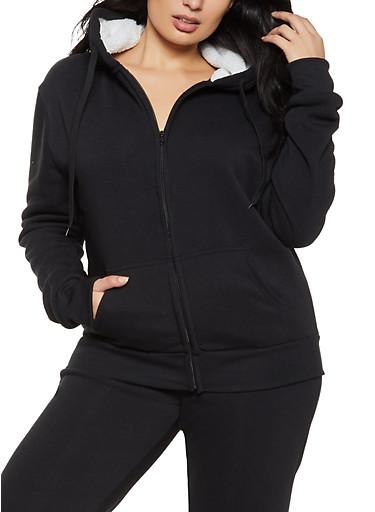 Plus Size Sherpa Hooded Zip Sweatshirt,BLACK,large