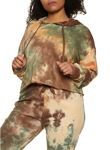 Plus Size Tie Dye Fleece Sweatshirt,BROWN,large