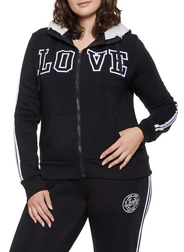 Plus Size Love Varsity Stripe Sweatshirt,BLACK,large