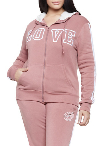Plus Size Love Varsity Stripe Sweatshirt,MAUVE,large