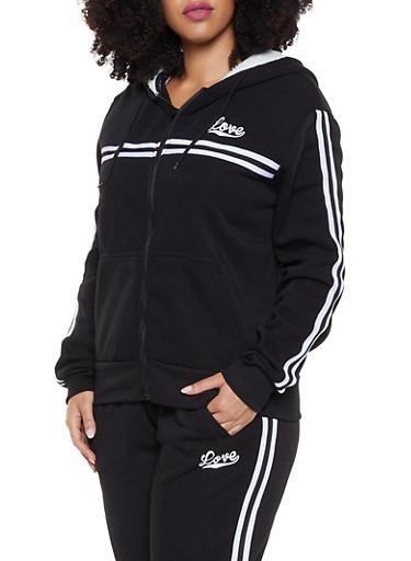 Plus Size Love Striped Tape Hooded Sweatshirt,BLACK,large