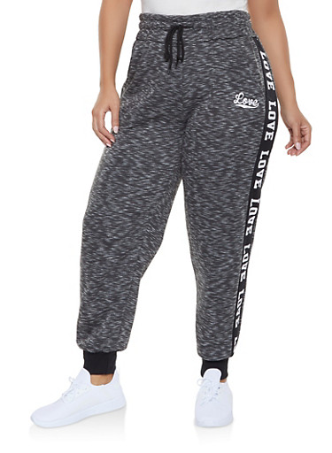 Plus Size Love Graphic Trim Sweatpants,CHARCOAL,large