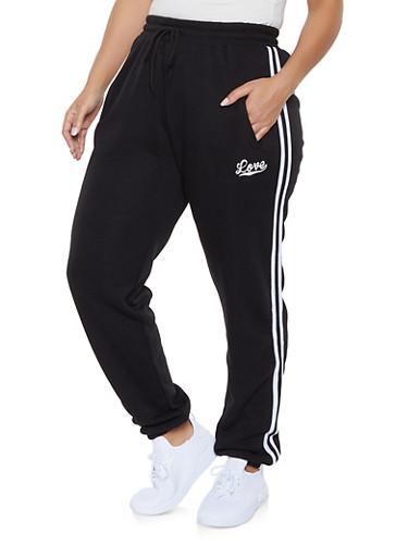 Plus Size Love Varsity Stripe Sweatpants,BLACK,large