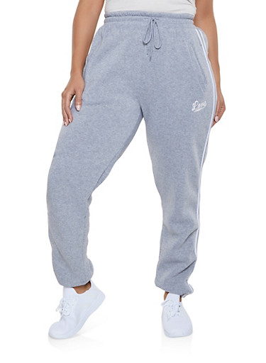 Plus Size Love Varsity Stripe Sweatpants,HEATHER,large