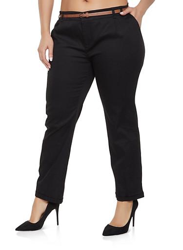 Plus Size Belted Pants,BLACK,large
