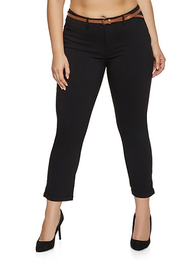 Plus Size Fixed Cuff Dress Pants,BLACK,large