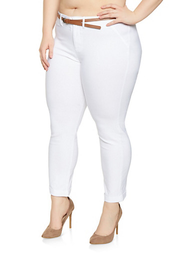 Plus Size Belted Stretch Pants,WHITE,large
