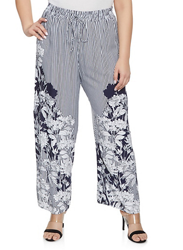 Plus Size Striped Floral Palazzo Pants,NAVY,large