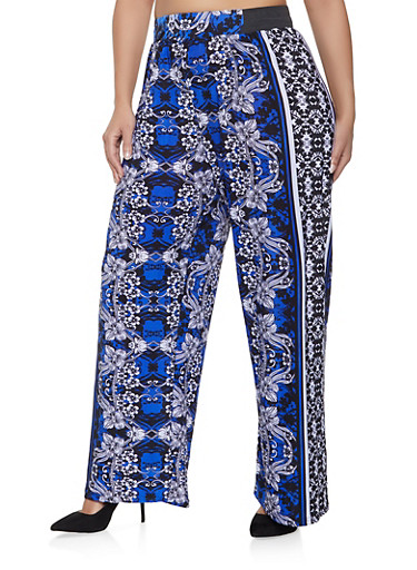 Plus Size Floral Palazzo Pants,NAVY,large