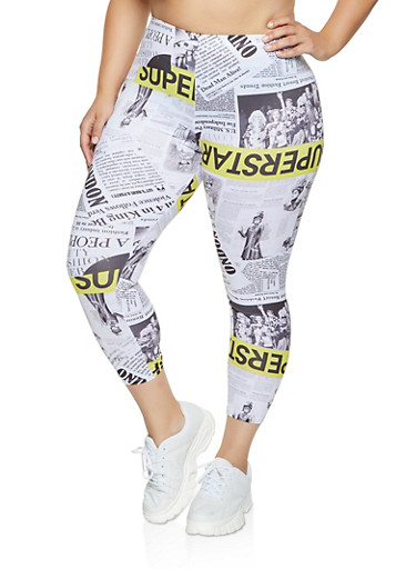 Plus Size Soft Knit Newspaper Print Leggings,YELLOW,large
